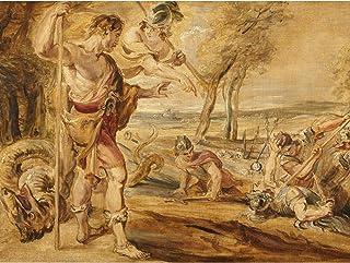 Peter Paul Rubens cadmus sådd drakar tänder stor väggkonst affisch tryck tjockt papper 45 x 60 cm