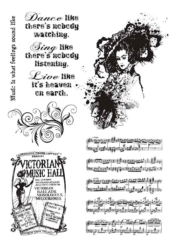 IndigoBlu Cling Mounted Stamp, 8 by 5.5-Inch, Music Hall