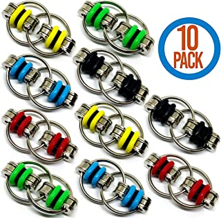 Fidget Toy/Sensory Toy Flippy Key Chain - Perfect for Stress Relief at Workplace or School Smooth Rolling and Twisting Movement Stocking Stuffers for Him or Her (10 Piece)