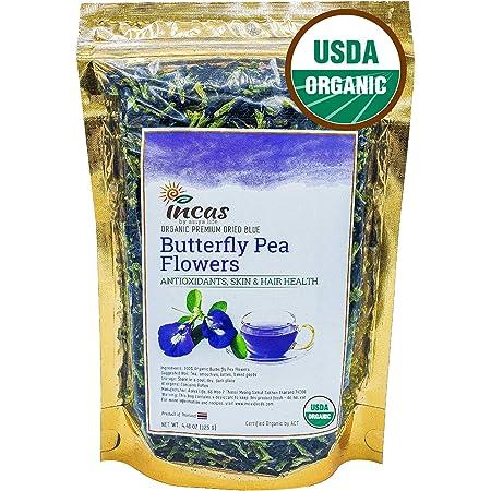 Incas 100% USDA Organic Butterfly Pea Flower Tea 4.41 oz (125 g) Dried Butterfly Pea Flowers Caffeine Free Gluten Free Non GMO Vegan Rich in Antioxidants Sourced from Thailand Free eBook