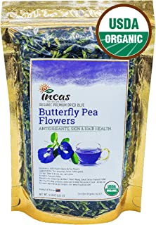Incas 100% USDA Organic Butterfly Pea Flower Tea 4.41 oz (125 g) Dried Butterfly Pea Flowers Caffeine Free Gluten Free Non...