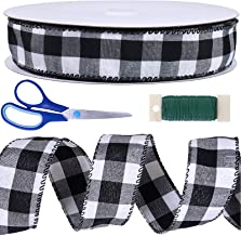 """50 Yards Black and White Buffalo Check Plaid Wired Ribbon 1.5"""" Wide Gingham Ribbon for Rustic Christmas Tree Wreath Gift W..."""