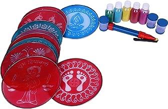 Vardhman Complete Plastic Rangoli Kit of 8 inch Round Stencils (Pink) -10 Pieces