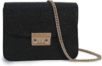 Damen Umhängetasche Kleine Schultertasche Kette Tasche Clutch Mini Vintage Citytasche für Hochzeit Party Disko - Schwarz