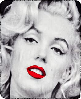 Silver Buffalo MR1621 Marilyn Monroe Red Lips Fleece Throw Blanket, 50 x 60 inches