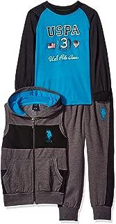 Boys' Wide Stripe Hooded Fleece Vest and Matching Jog Pant with Long Raglan Sleeve T-Shirt
