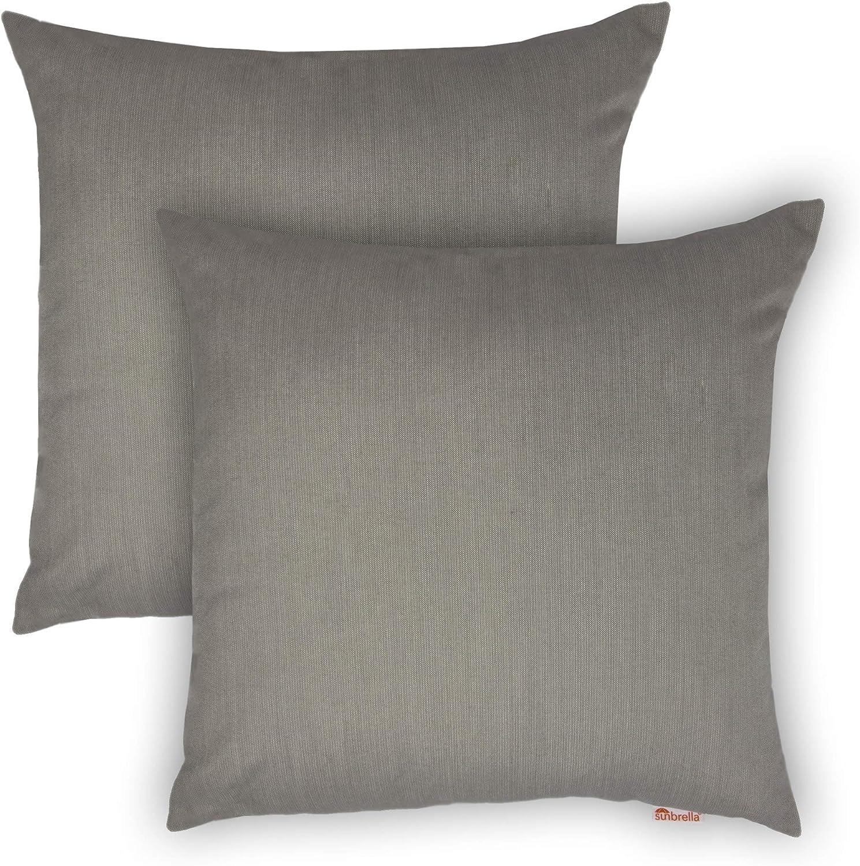18-inch Outdoor Indoor Max 81% OFF Pillow Set of Color Modern 2 Solid Grey Soldering