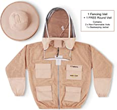 Natural Apiary Zephyros Protect 3 Layer Ventilated Jacket Suit Outfit with 2 x Non-Flammable Veil Mesh (Round & Fencing) Beekeepers Stay Ultra Cool & Protection from Bees & Wasps, Sand