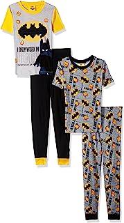 ست لباس خواب بتمن LEGO Batman ، پسران 4 قطعه PJ ، شلوار بلند آستین بلند ، پنبه ، مشکی زرد ، - اندازه 4 تا 10