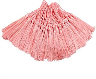 Aokbean 100pcs 5 Inches Handmade Silky Floss Soft Craft Bookmark Tassels with Loops for DIY, Jewelry Making, Graduation Tassel,Bookmarks,Souvenir (Light Pink)