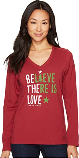 Life is Good - Believe There Is Love Long Sleeve Crusher Vee