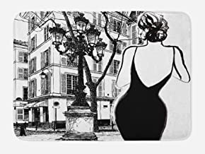 Lunarable Paris Bath Mat, Young Woman in a Black Dress in The Streets of Paris Old Building Facade Cityscape, Plush Bathroom Decor Mat with Non Slip Backing, 29.5