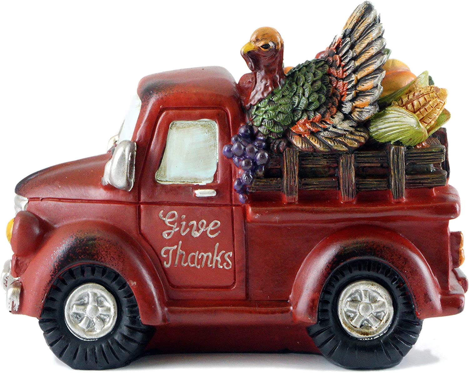 Gerson Give Thanks Fall Harvest Turkey Pickup Truck Figurine (Re