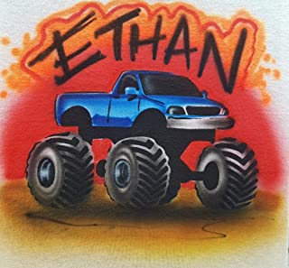 Custom Airbrush Monster Truck - Youth or Adult T shirt/Baby One Piece - Personalized with airbrushed Name