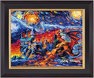 Uhomate Vincent Van Gogh Starry Night Dragon and Castle Home Canvas Wall Art Baby Gift Nursery Decor Living Room Wall Decor A185 (8X10)