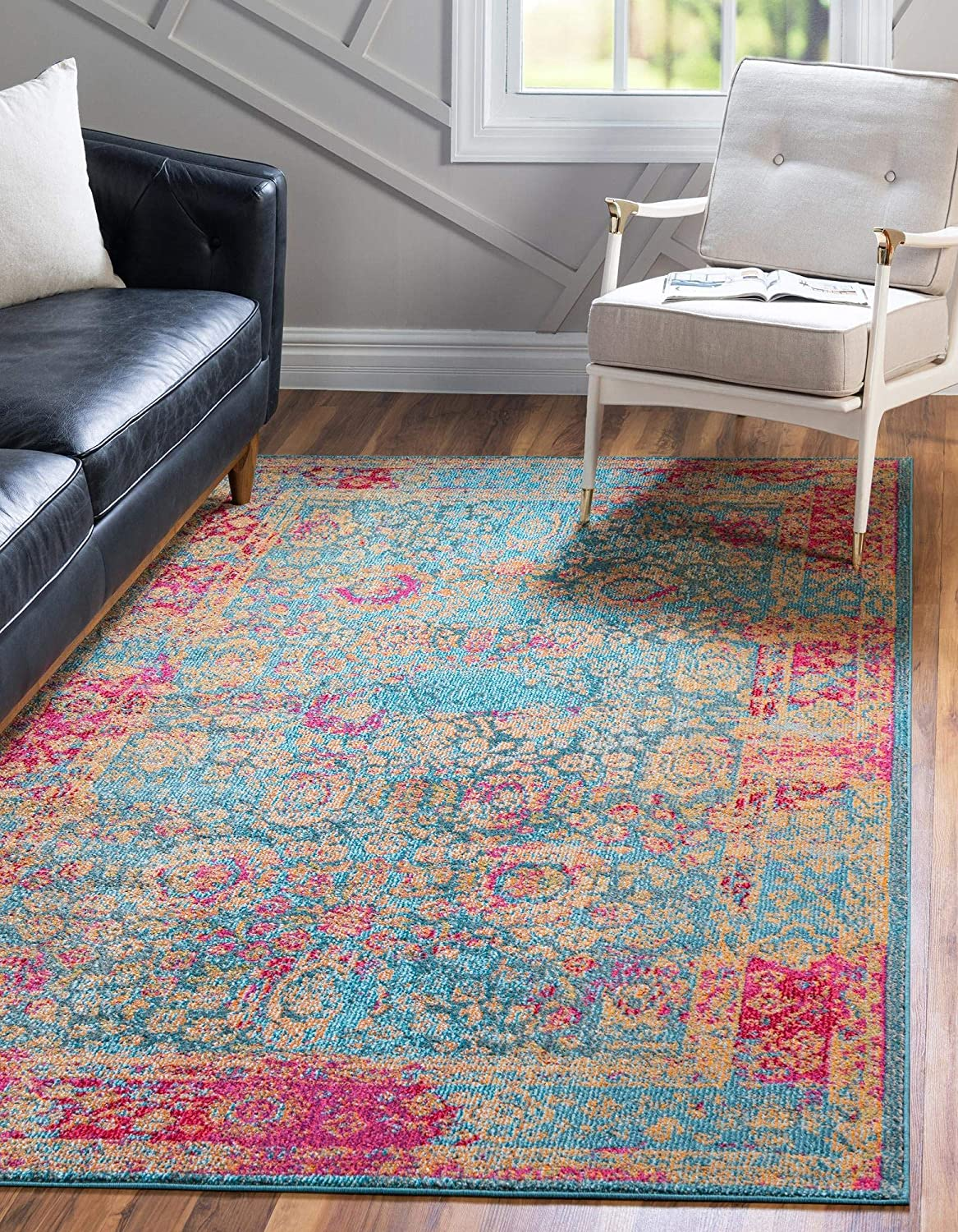 Rugs.com Fleur Louisville-Jefferson County Mall Collection Rug – 4' Medium-Pile x 6' Blue Ru New mail order