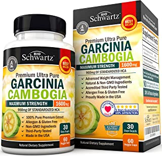 Garcinia Cambogia Pure Extract 1600mg with 960mg HCA. Fast Weight Loss & Fat Metabolism. Best Appetite Suppressant, Extrem...