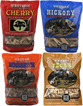 Western BBQ Smoking Wood Chips Variety Pack Bundle (4) Cherry, Hickory, Mesquite and Pecan Flavors (Cherry, Mesquite, Hickory, Pecan)