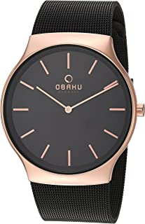 Obaku Men's Analog-Quartz Watch with Stainless-Steel Strap, Black, 30 (Model: V178GXVBMB)