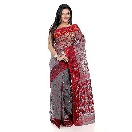 eef0e89235878 B3Fashion Indian Traditional Handloom Dhakai Jamdani Cotton Silk Saree