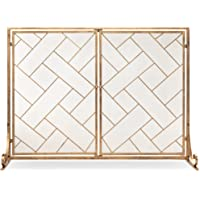 BCP 2-Panel Wrought Geometric Fireplace Screen w/Magnetic Doors Deals