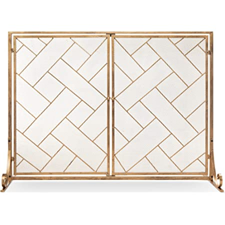 Best Choice Products 44x33in 2-Panel Handcrafted Wrought Iron Decorative Mesh Geometric Fireplace Screen, Fire Spark Guard w/Magnetic Doors - Gold
