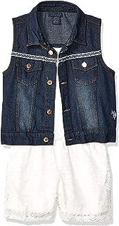 Girls' 2 Piece Lace Romper and Denim Vest Set
