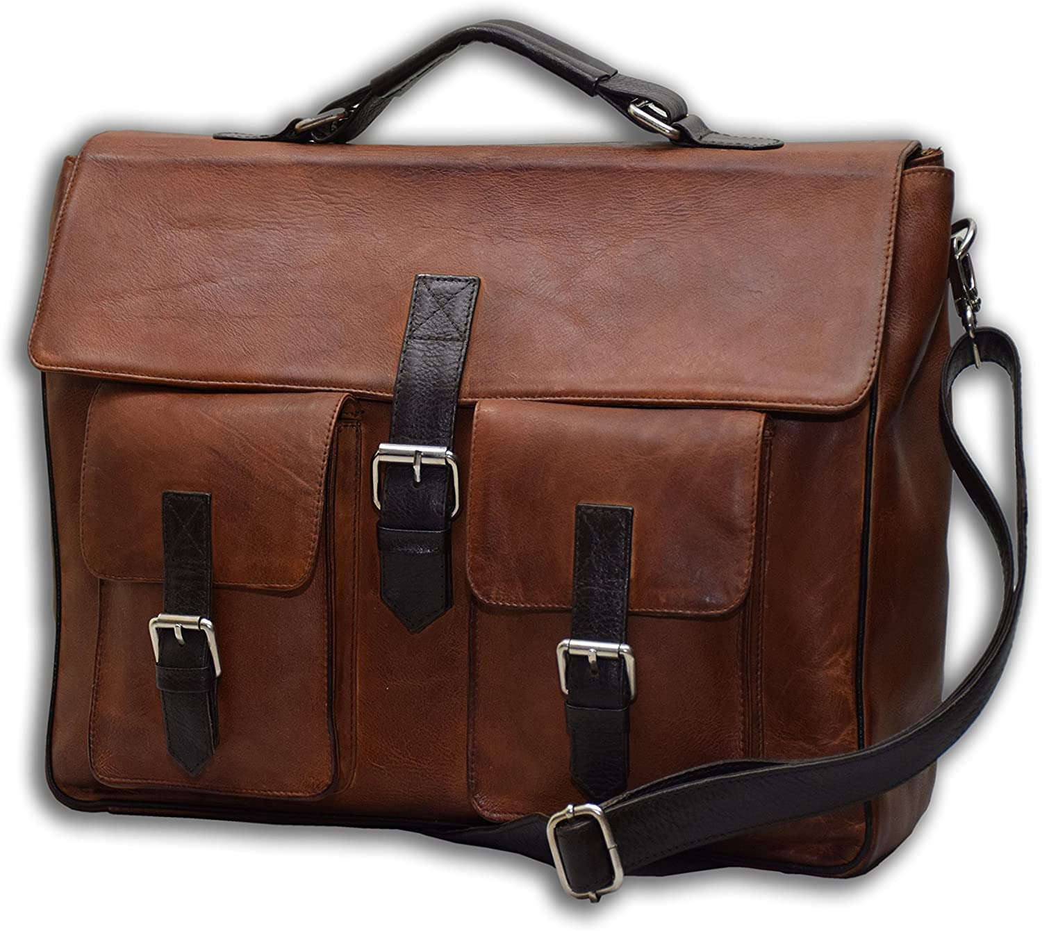 Men Leather Handbag Briefcase Business Messenger Shoulder Bag