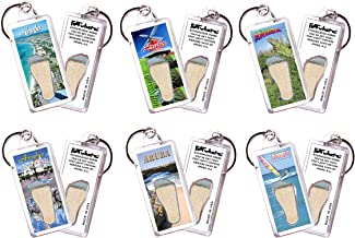 product image for Aruba FootWhere Keychains. 6 Piece Set. Authentic Destination Souvenir acknowledging Where You've Set Foot. Genuine Soil of Featured Location encased Inside Foot Cavity. Made in USA