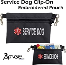 Activedogs Service Dog Clip-On Embroidered Accessory Pouch - Quality Large Service Dog Embroidery with Medical Alert Sign - Dual Clip Pouch Design for Easy Attachment to Most Vests, or Belt Loops