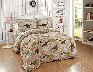Kids Zone Home Linen 5pc Twin Size Comforter Set Dinosaurs Olive Sage Green Sand Tan Orange Writing