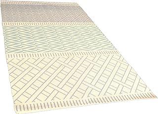 MAIKO Alfombra con Estampado Geométrico, Tela, Verde, 170x240x3 cm