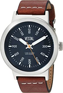 Vestal Men's Retrofocus Stainless Steel Japanese-Quartz Watch with Leather Strap, Brown, 21.7 (Model: SLR443L01.LBWH)