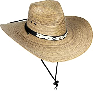 MWS Mexican Palm Leaf Cowboy Hat with Chin Strap, Sombreros de Hombre de Palma, Natural, One Size