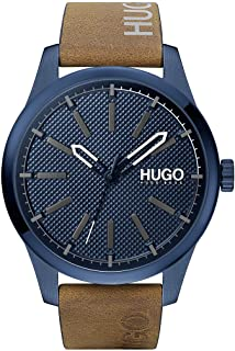 HUGO by Hugo Boss Men's #Invent Stainless Steel Quartz Watch with Leather Calfskin Strap, Brown, 22 (Model: 1530145)