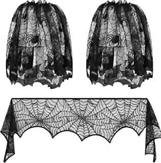 Halloween Lamp Shade Cover Black Lace Spiderweb Lampshades and Spiderweb Fireplace Scarf for Halloween Decoration, 3 Pieces
