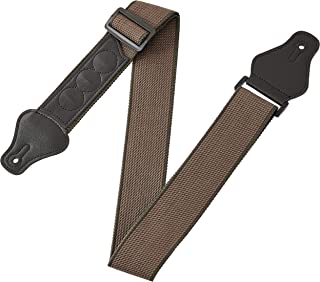 Amazon Basics Adjustable Guitar Strap For Electric/Acoustic Guitar/Bass - Includes 3 Pick Holders - Cotton Strap, Brown