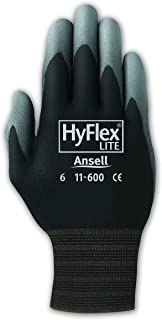 Ansell 103363 HyFlex PU Coated Knit Lined Assembly Glove, 10, Black (Pack of 12)