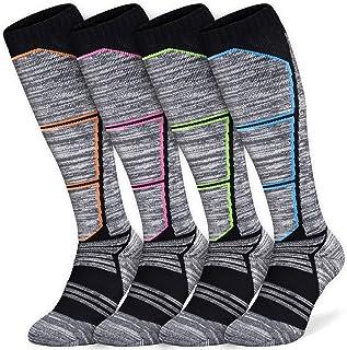 Abida, 2/4 pares de calcetines de esquí para hombre y mujer, ligeros, de alto rendimiento, de lana cálida, para esquí, senderismo y snowboard