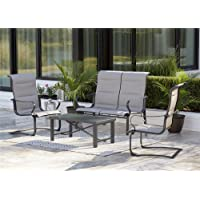 Cosco Outdoor Living SmartConnect 4 Piece Conversation Set (Charcoal Gray with Light Gray Cushions)