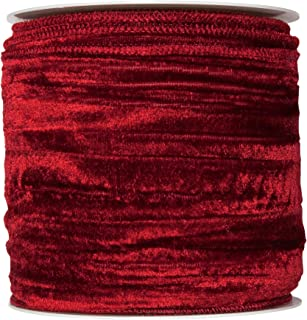 Floristrywarehouse Wine Red Christmas Crushed Velvet Fabric Ribbon 4 inches Wide on 9 Yards roll. Wired
