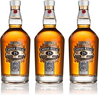 Chivas Regal 25 Jahre Blended Scotch Whisky 3er Set, Whiskey, Schnaps, Spirituose, Alkohol, Flasche, 40%, 3x700 ml