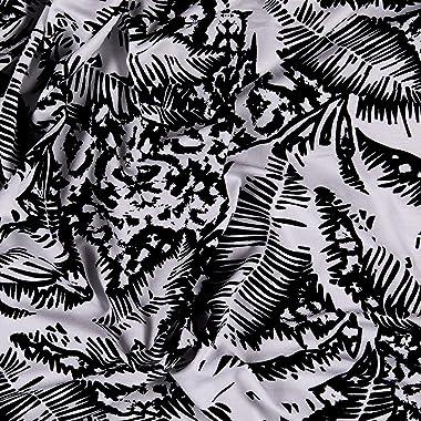 Fabric Merchants Splendid Apparel Rayon Spandex Jersey Knit Palms Black/White Fabric