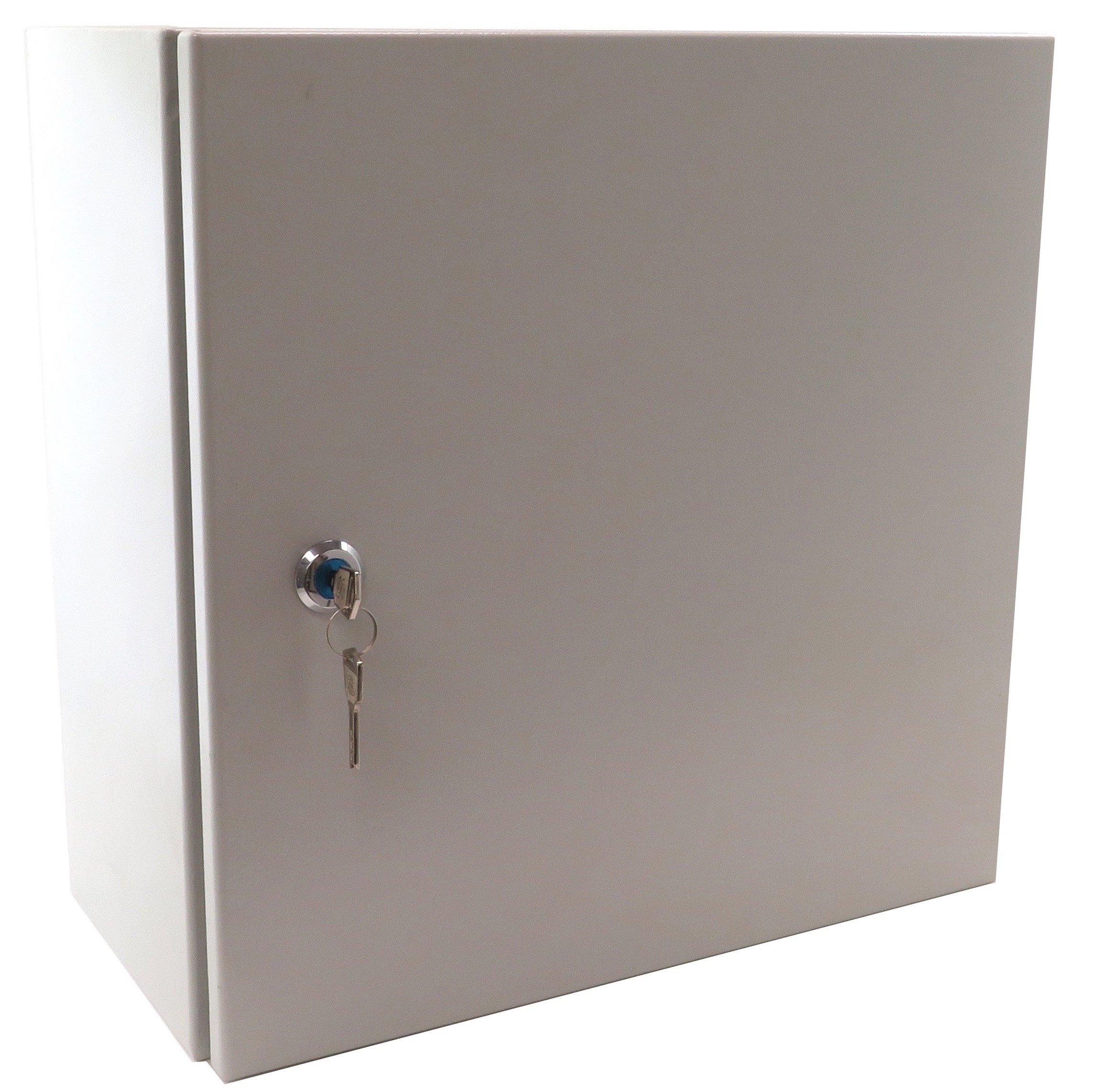 Yuco totalmente cerrada (no (placa) IP66 caja con 1 juego de cerradura y llaves, UL certificada, NEMA 4, 16 gauge, sola puerta cubierta de la bisagra, de montaje en pared, galvanizado placa: