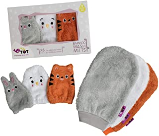 Tidy Tot Bamboo Wash Cloth Mitts – 6 Perfectly Sized Mitts – 3 for Adults, 3 for Baby Hands. Fuss-Free face Wiping at Bath...