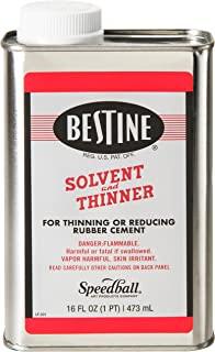 Bestine Solvent and Thinner for Rubber Cement – Cleans Ink, Adhesive and Parts, 16 Ounce Can