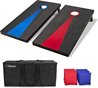 GoSports Regulation Size Solid Wood Cornhole Set - Includes Two 4' x 2' Boards, 8 Bean Bags, Carrying Case and Game Rules