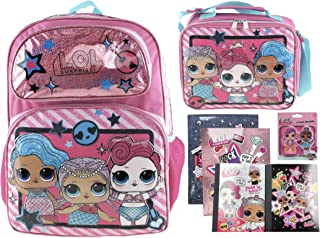"""L.O.L. Surprise! Mermaid 16"""" Backpack and Insulated Lunch Bag Plus 2 Folders, 2 Composition Notebooks and 2 Pack of Jumbo Erasers"""