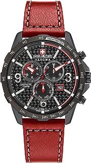 Reloj de pulsera de cuarzo para hombre con esfera negra, cronógrafo y correa de piel marrón (6-4251.04.007)