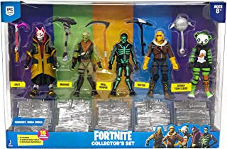 Fortnite Action Figures 15 Piece Collectors Set - 5 Character Figures, 5 Harvest Tools, 5 Building Materials - Spooky Team Leade
